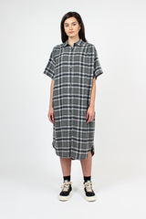 Grey Plaid Oversized Shirt Dress
