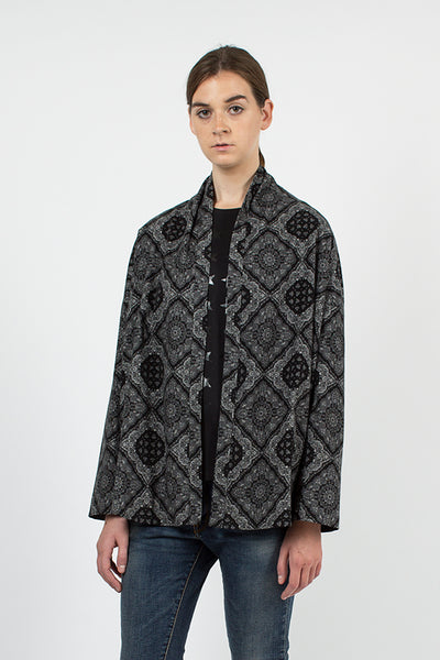 Black Bandana Shawl Cardigan