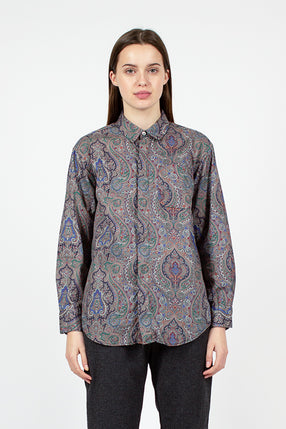 Grey Paisley Print Short Collar Shirt
