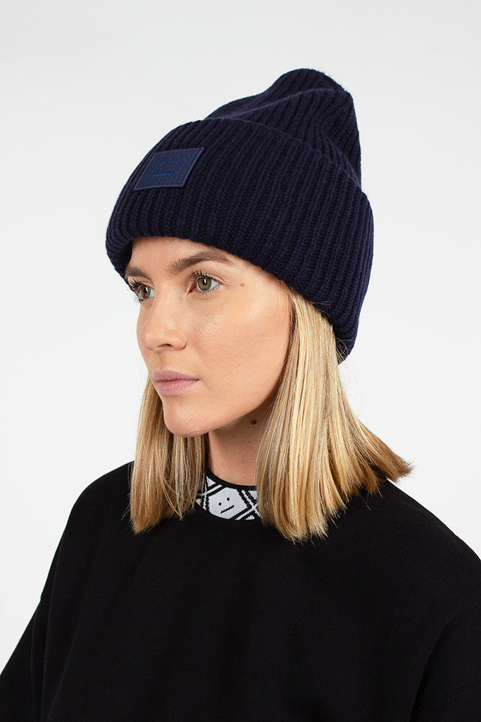 Navy Pansy N Face Beanie