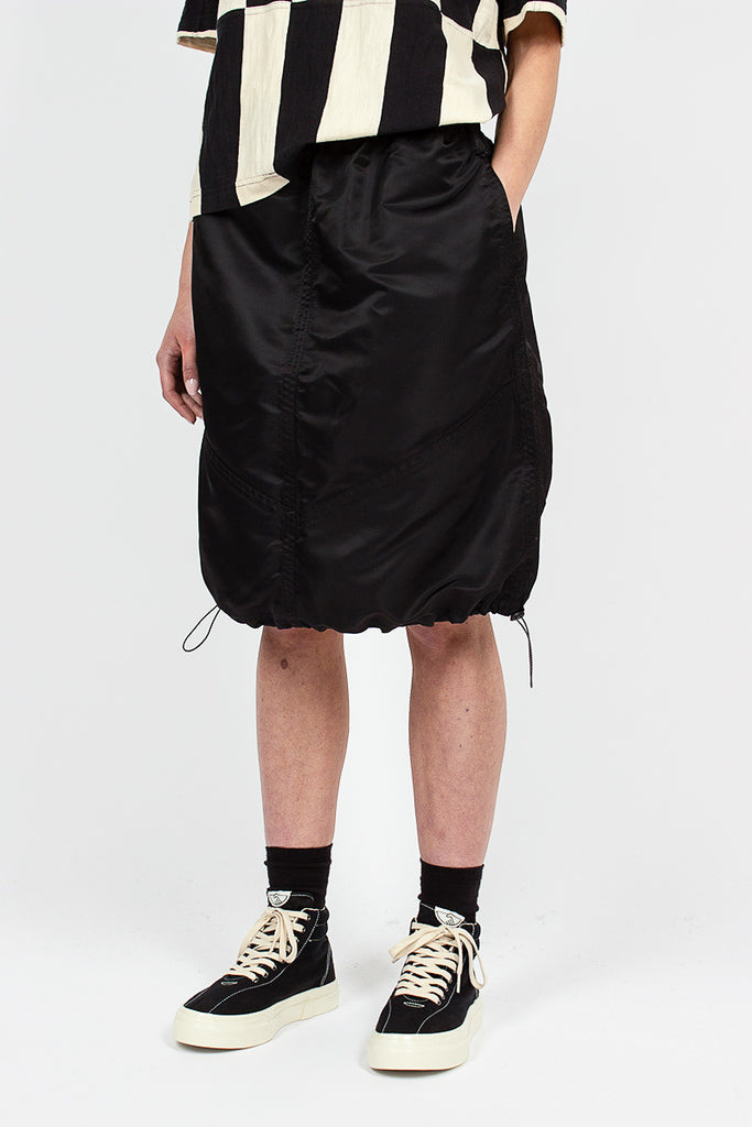 Parachute Skirt Black Nylon Twill
