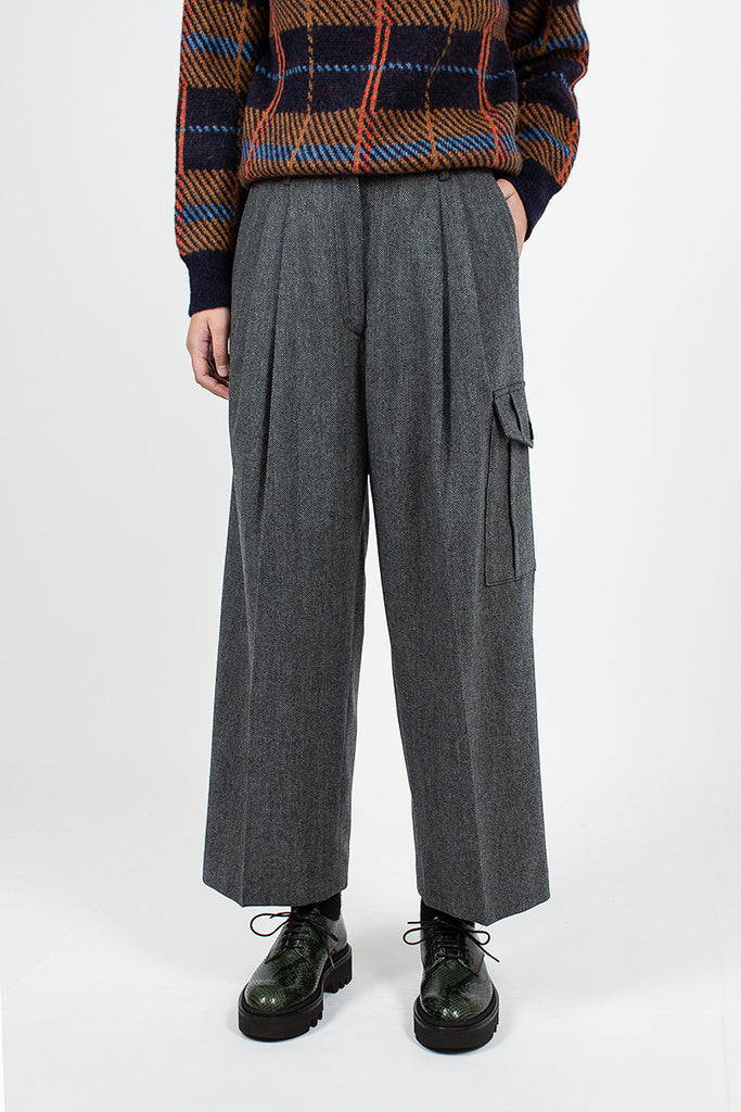 Partan Cargo Pocket Pant Grey Herringbone Wool