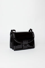 Black Patent Messenger Bag