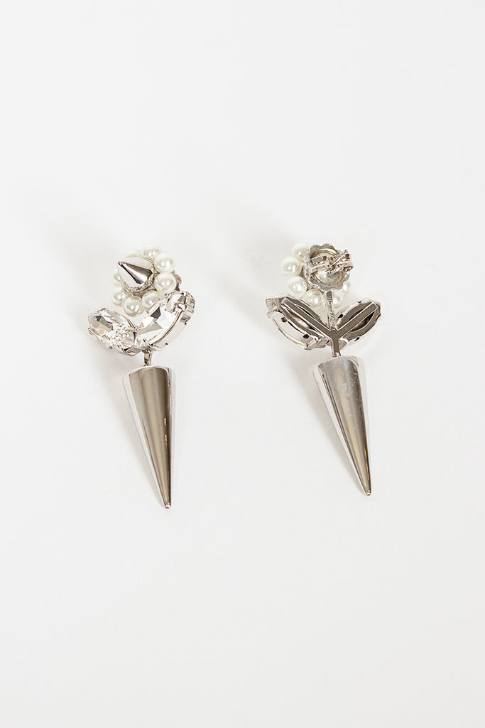 Silver Flower/Spike Earrings