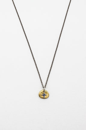 Musca Yellow Gold Pendant With Silver Cross Necklace