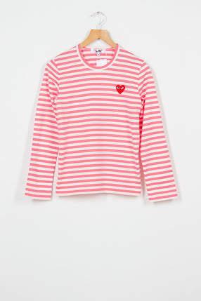 PLAY Pink Stripe Long Sleeve T-Shirt