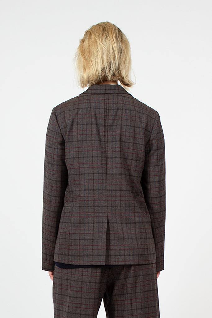 Grey Plaid Mini Lapel Blazer