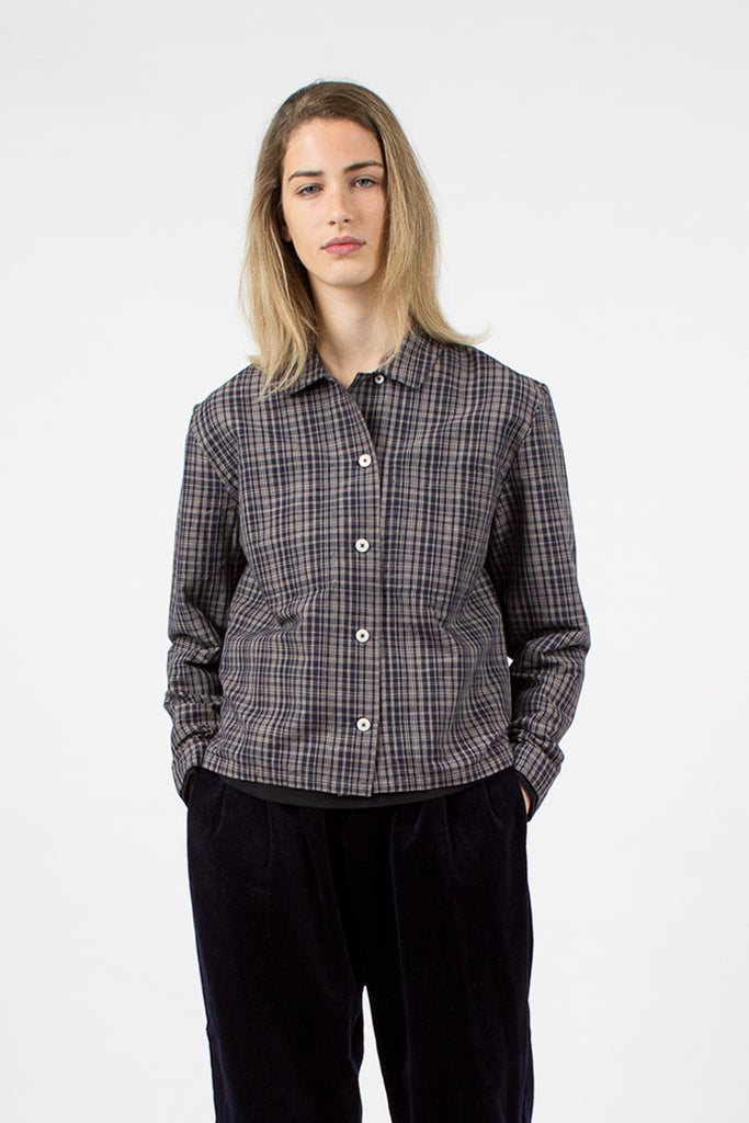 Navy Check Work Shirt