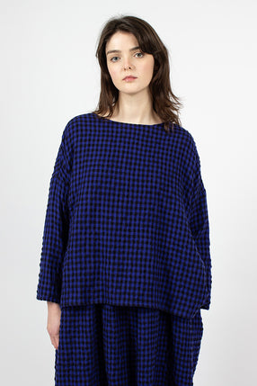 Gingham Woven Pullover Blue/Black