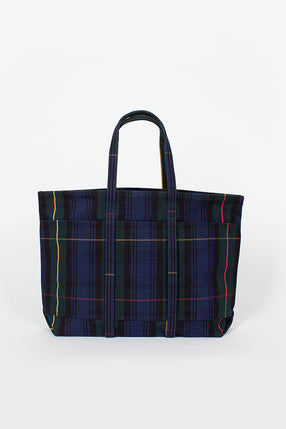 Plaid Washed Canvas 6 Pocket Tote