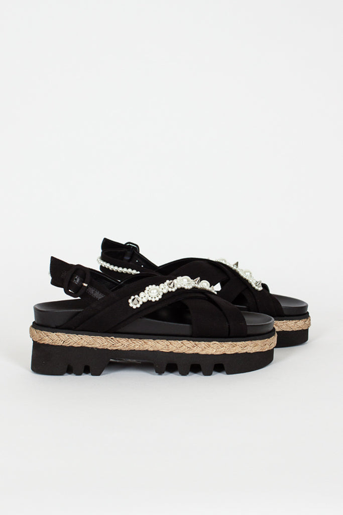 Black Cross Strap Espadrille Sandal