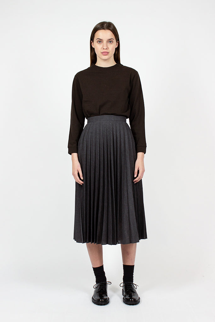 Charcoal Sunray Pleat Skirt