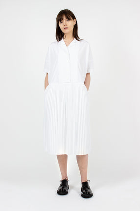 T Pleat Dress White