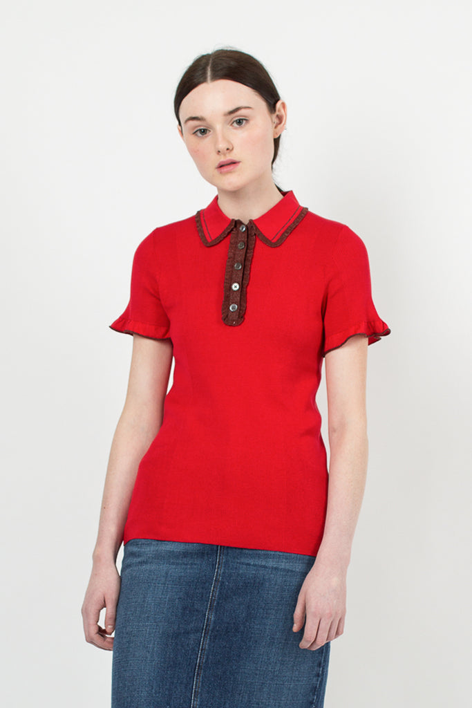Red/Brown Frill Polo Shirt