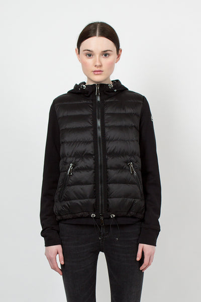 Black Padded Hooded Cardigan