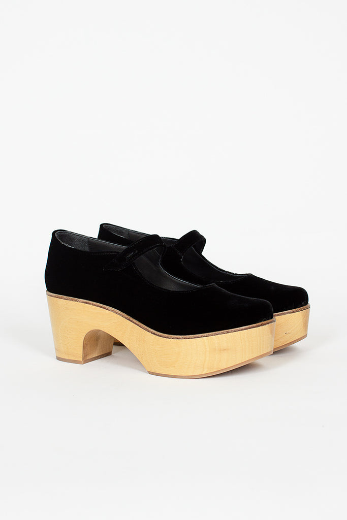 Black Velvet Wooden Heeled Clogs