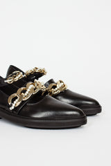 30mm Pointed Multi Strap Brogue With Pearl & Chain