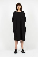 PYJ Side Pleat Poplin Dress Black