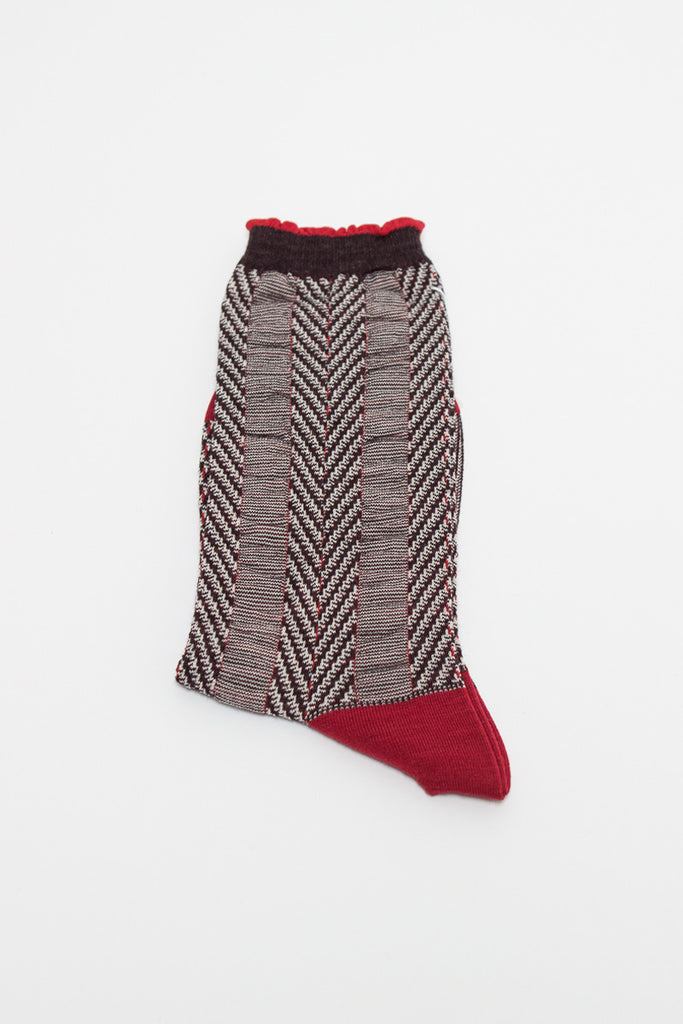 Red Asymmetric Stripe Sock