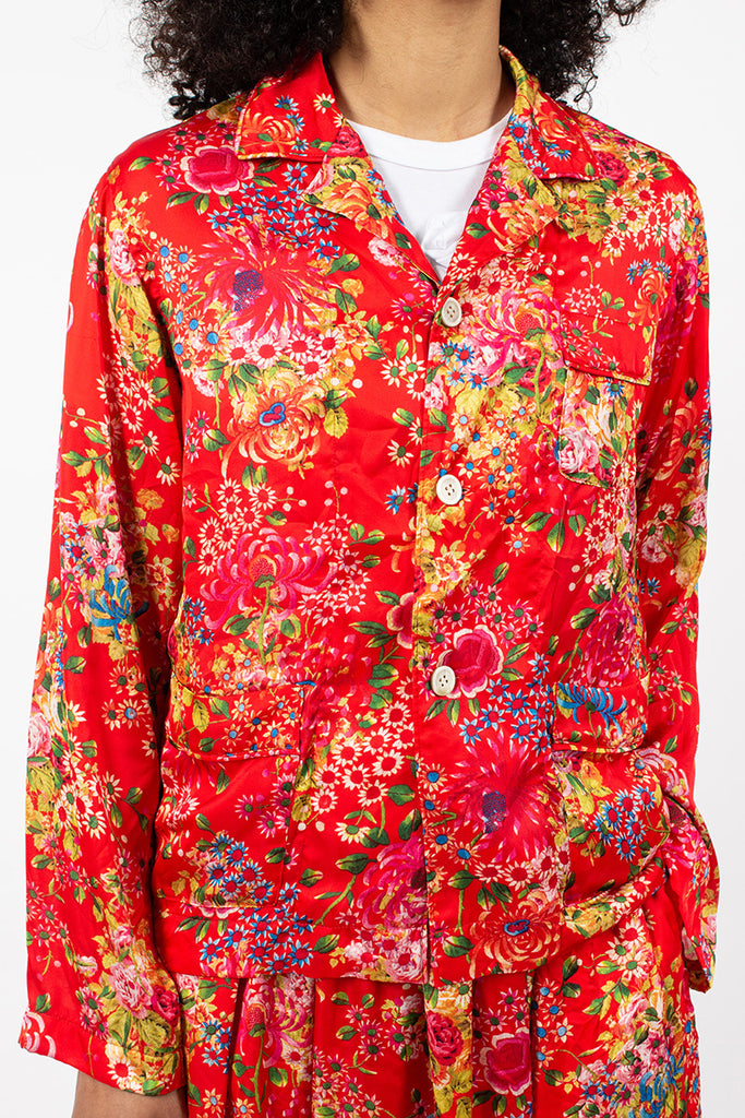 Sateen Floral Shirt Red