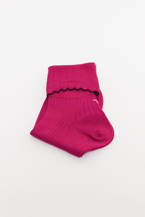 Magenta/Black Scalloped Sock