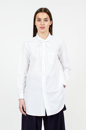 Rounded Collar Tie Shirt White