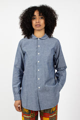 Rounded Collar Shirt Blue Chambray
