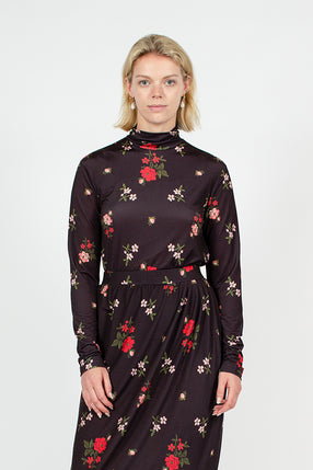 Black Floral Polo Neck Top