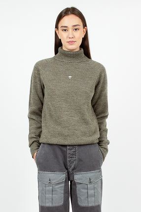 Seamless Roll Neck Sweater Army Green