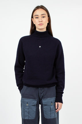 Seamless Roll Neck Sweater Black Navy