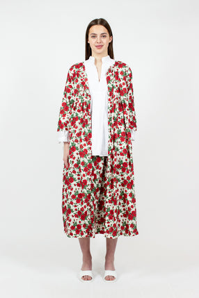 Rose Print Cocoon Cotton Coat