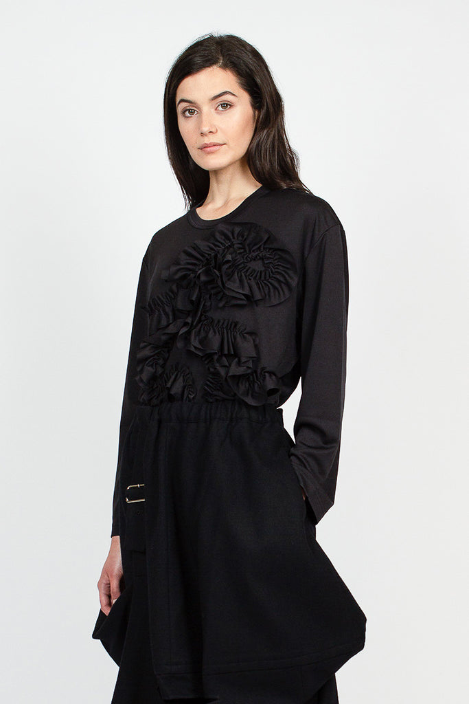 Black Ruffle Ribbon Detail L/S T-Shirt