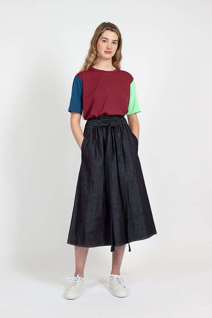 Sash Denim High Waist Skirt