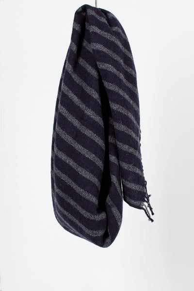 Navy Wool Stripe Scarf