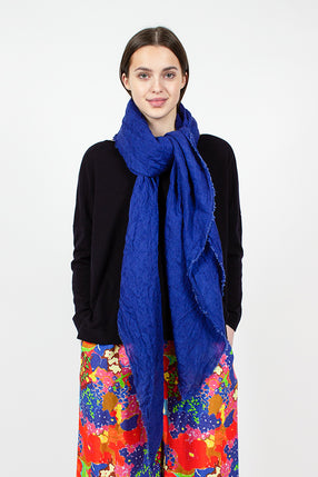 Electric Blue Linen Scarf