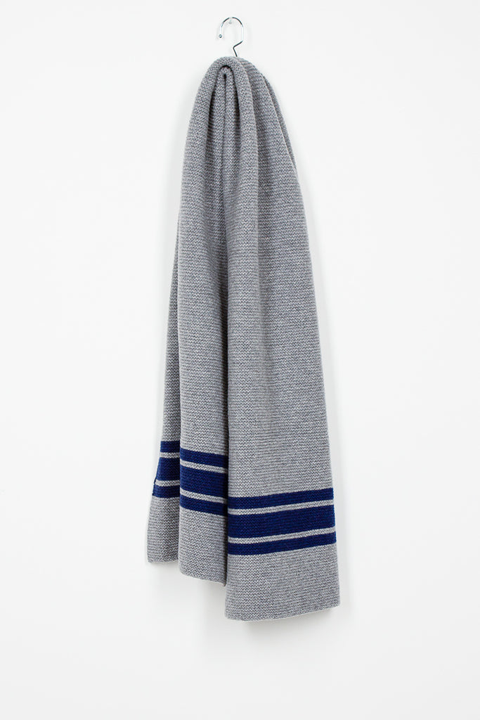Striped Lambswool Scarf In Light Grey