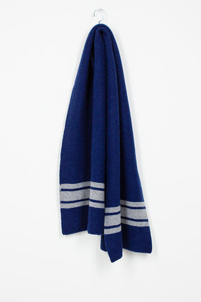 Striped Lambswool Scarf In Bright Blue