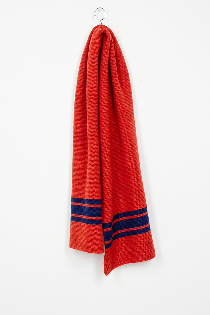 Striped Lambswool Scarf In Orange