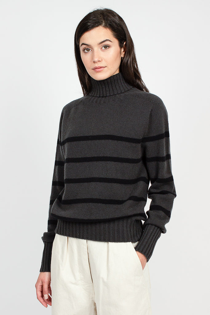Shadow/Black Cashmere Matelot Roll Neck
