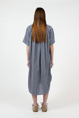 Navy Check Oversized Shirt Dress