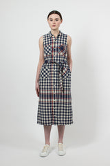Navy/Red/Yellow Big Plaid Madras Shirt Dress