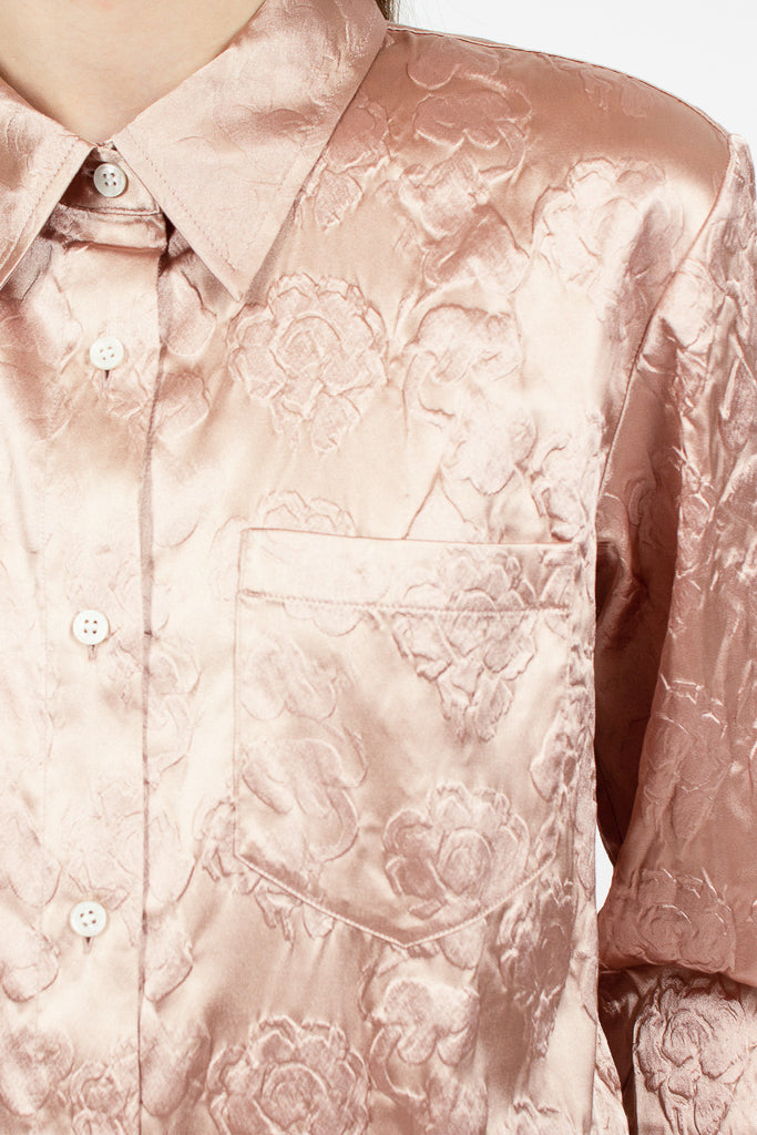 Embossed Floral Satin Shirt