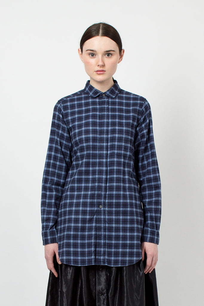 Rounded Collar Shirt Navy Plaid