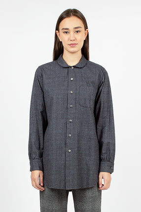 Rounded Collar Shirt Grey Cotton Glen Plaid