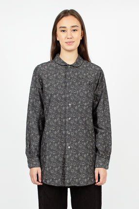 Rounded Collar Shirt Grey Cotton Floral Jacquard