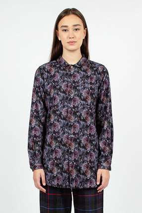 Rounded Collar Shirt Purple Cotton Flannel Floral Print