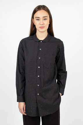 Rounded Collar Shirt Black/White Cotton Micro Polka Dot