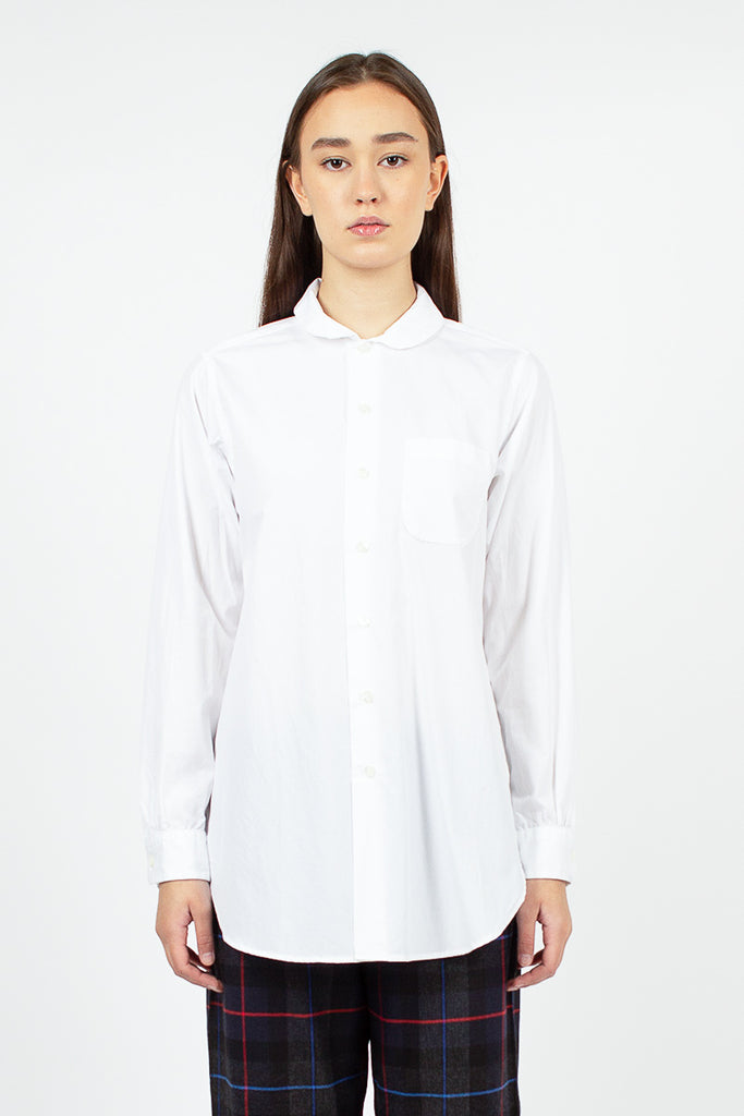 Rounded Collar Shirt White 100's 2ply Broadcloth