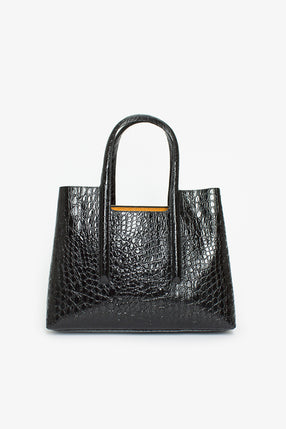 Black Stamped Leather Tote Bag