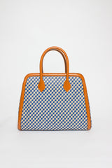 Blue Jacquard Shopper